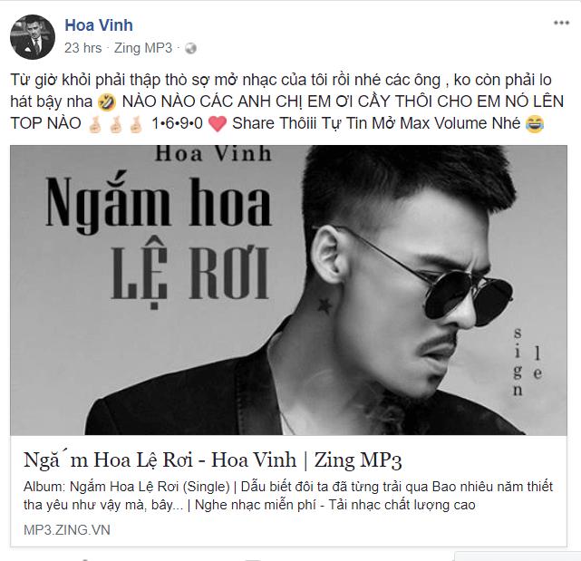 Đặc biệt, chủ nhân của ca khúc, nam ca sĩ Châu Khải Phong cũng đã đăng đàn  thể hiện sự bức xúc trước hành động của Hoa Vinh.